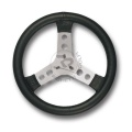 STEERING WHEEL COVERED W/IMITATION LEATHER, BLACK COLOUR