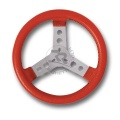 STEERING WHEEL COVERED W/IMITATION LEATHER, RED COLOUR