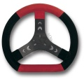 STEERING WHEEL COVERED WITH CHAMOIS LEATHER, BLACK/RED COLOURS