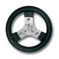STEERING WHEEL COVERED WITH IMITATION LEATHER, DIAM.250mm, IN BLACK COLOUR