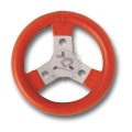 STEERING WHEEL COVERED WITH IMITATION LEATHER, DIAM.250mm, IN RED COLOUR